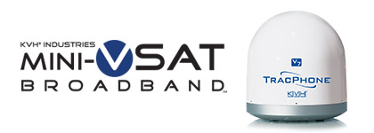 mini-VSAT Broadband logo and TracPhone V7 antenna