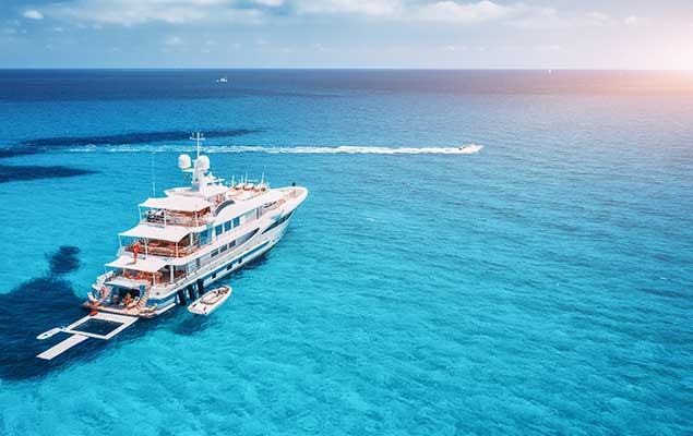 superyacht in open beautiful water