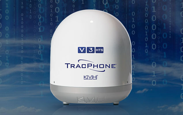 TracPhone V3-HTS antenna with ones and zeros data flowing behind