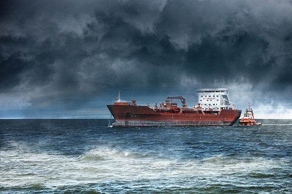 tanker in bad weather