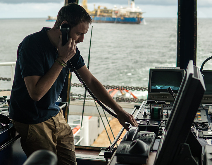 crew member using VoIP on a landline