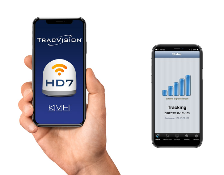 TracVision HD7 application on cell phone