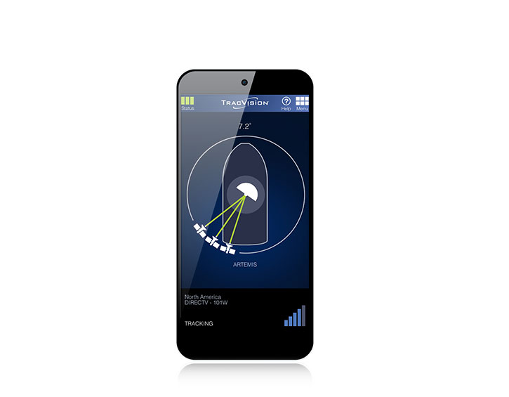 TracVision iPhone App satellite tracking screen