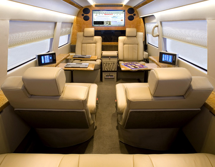 TracVision Land A9 limo interior
