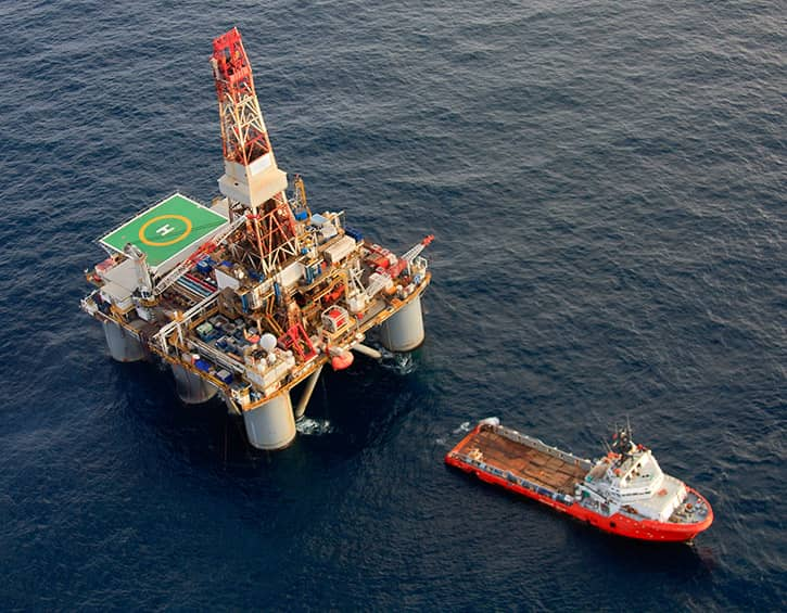 TracVision TV5 commercial oil rig at sea