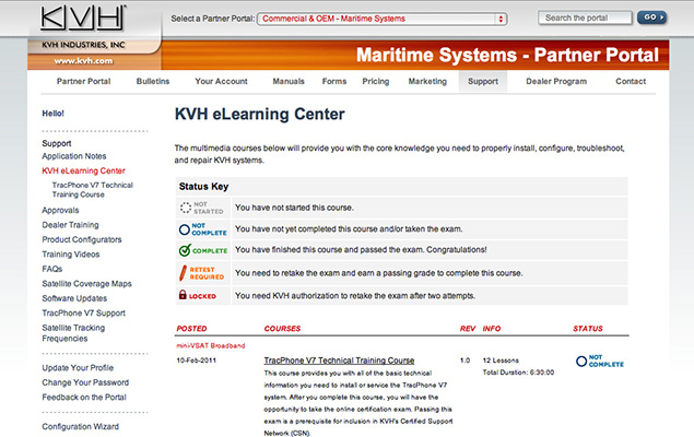 KVH E-Learning Welcome Screen