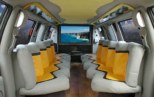 Limo Bus Interior with TV